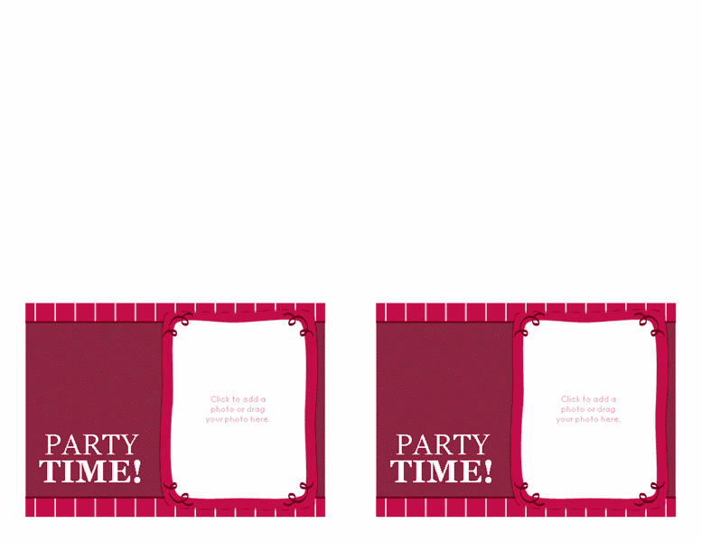 Download Red-color Birthday Party Invitations (magenta, 2 Per Page)