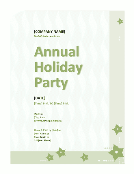 Green-color Company Holiday Party Invitation