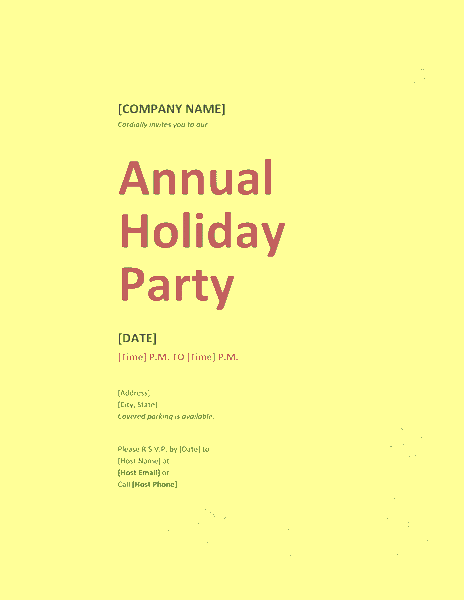 Yellow-color Company Holiday Party Invitation