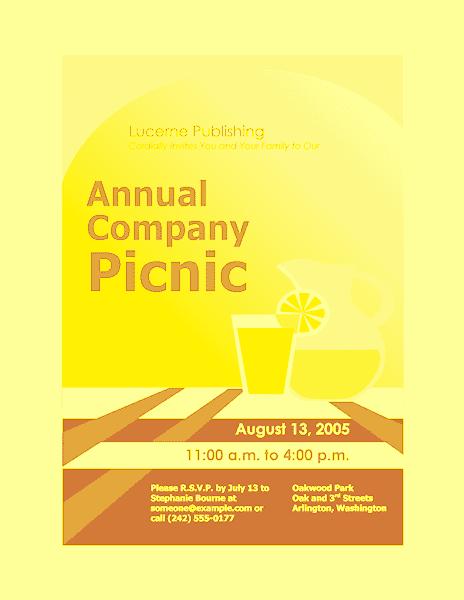 Yellow-color Company Picnic Invitation Flyer