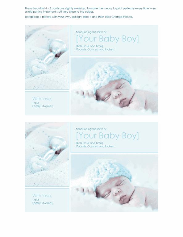 Blue-color Elegant Baby Boy Birth Announcement