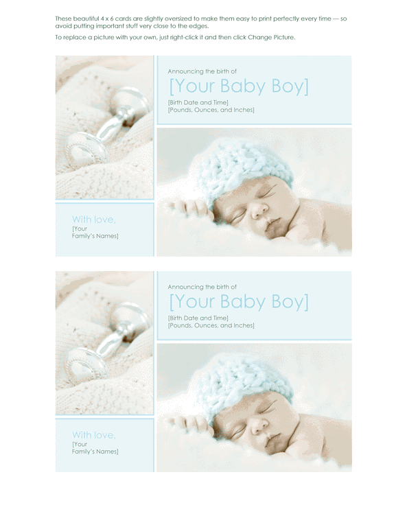 Green-color Elegant Baby Boy Birth Announcement