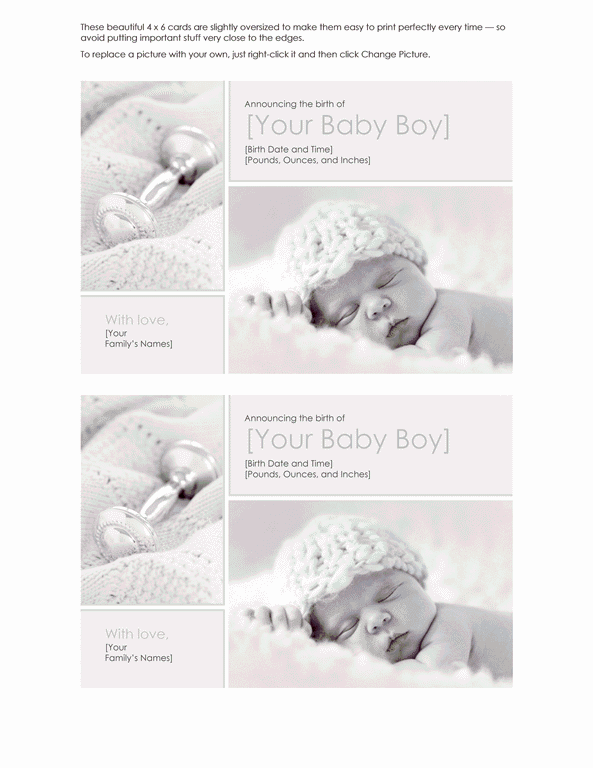 Grey-color Elegant Baby Boy Birth Announcement
