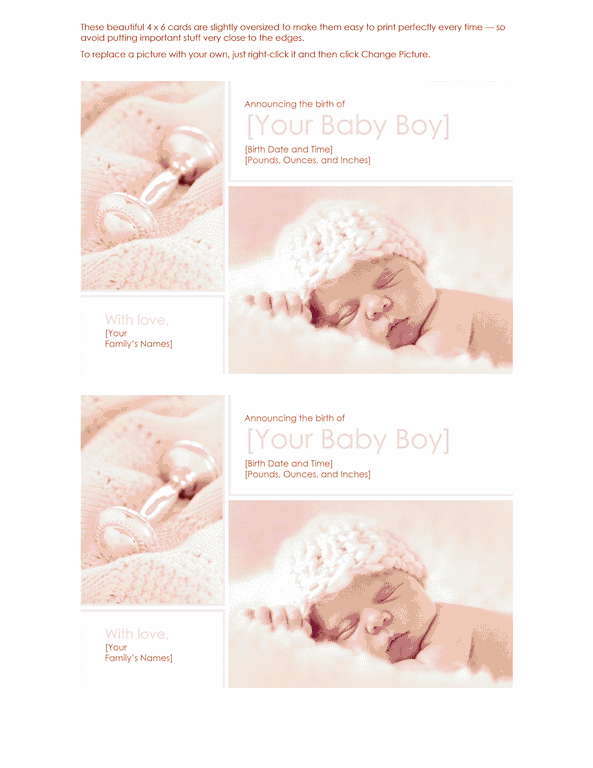 Red-color Elegant Baby Boy Birth Announcement
