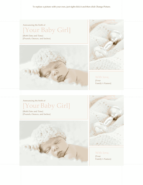 Green-color Elegant Baby Girl Birth Announcement
