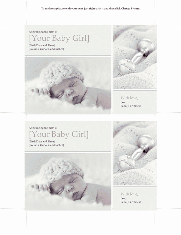 Grey-color Elegant Baby Girl Birth Announcement