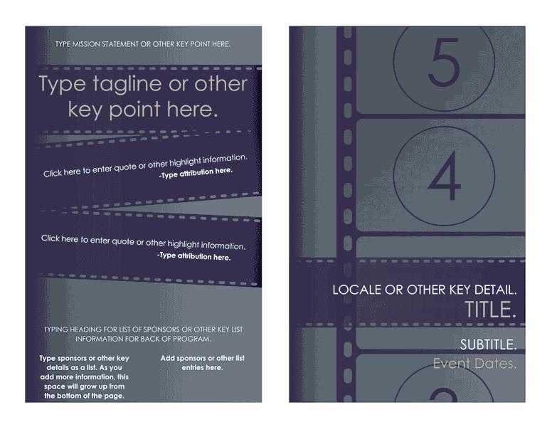 film festival brochure template - download free printable invitations of film festival program