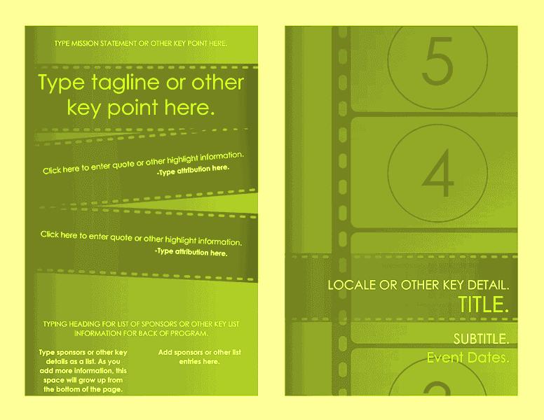 Download Free Printable Invitations Of Film Festival Program