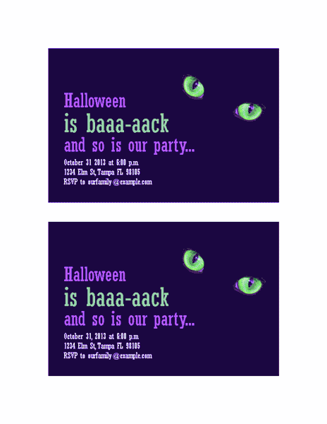 Download Blue-color Halloween Party Invitations (with Cat's Eyes, 2 Per Page)