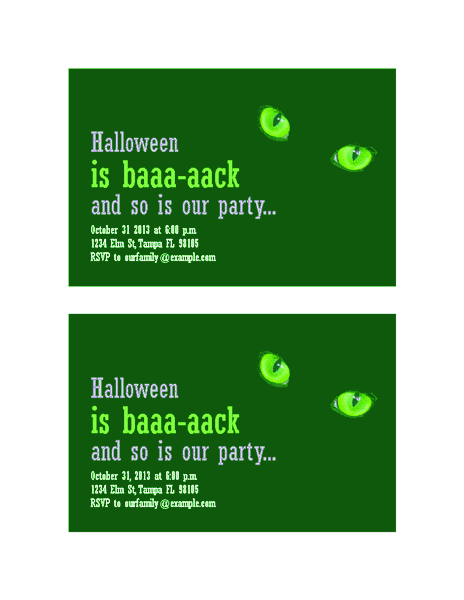 Download Green-color Halloween Party Invitations (with Cat's Eyes, 2 Per Page)
