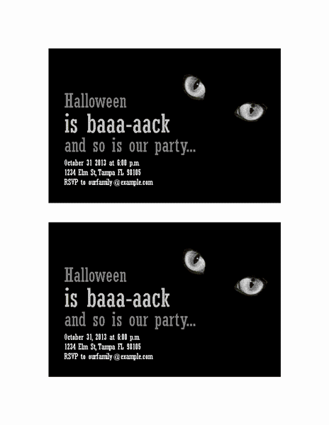 Download Grey-color Halloween Party Invitations (with Cat's Eyes, 2 Per Page)
