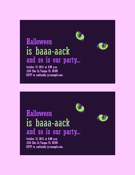 Download Purple-color Halloween Party Invitations (with Cat's Eyes, 2 Per Page)