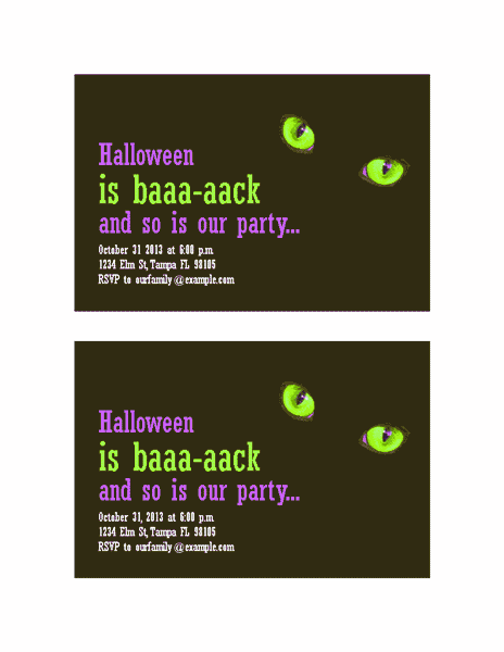 Download Red-color Halloween Party Invitations (with Cat's Eyes, 2 Per Page)