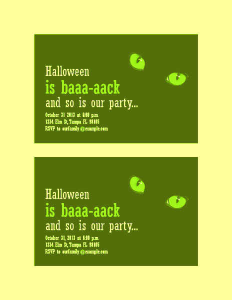 Download Yellow-color Halloween Party Invitations (with Cat's Eyes, 2 Per Page)