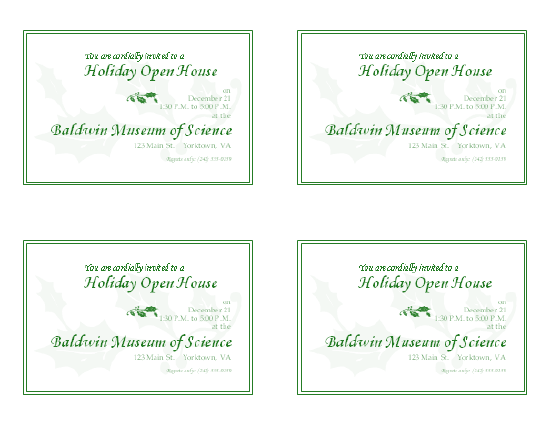 Download Free Printable Invitations of Holiday open house invitation