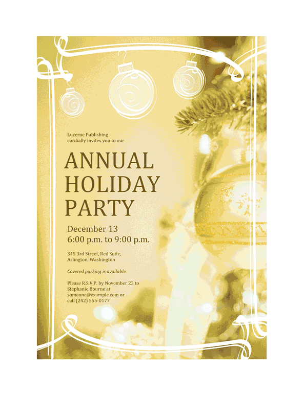 Green-color Holiday Party Invitation (for Business Event)