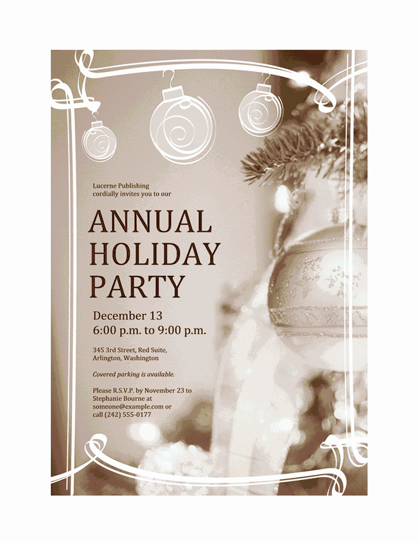 Grey-color Holiday Party Invitation (for Business Event)