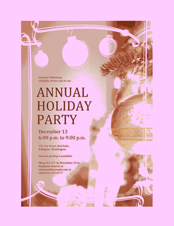 Purple-color Holiday Party Invitation (for Business Event)