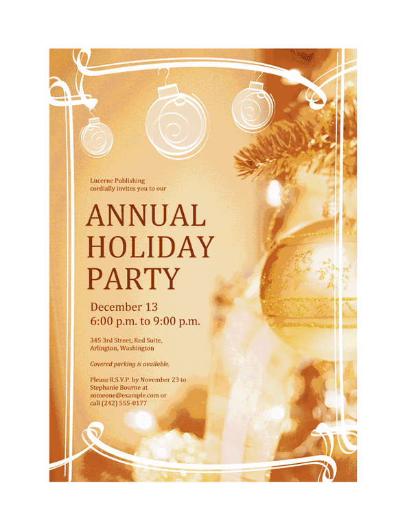 Red-color Holiday Party Invitation (for Business Event)