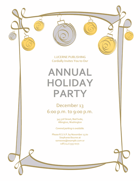 Download holiday party invitation with blue green and yellow download red color holiday party invitation with blue green and yellow ornaments stopboris Choice Image