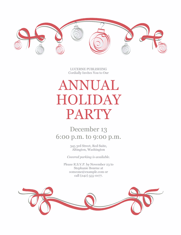 Blue-color Holiday Party Invitation With Red And Green Ornaments (formal Design)