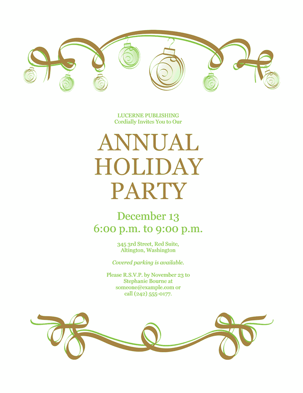 Green-color Holiday Party Invitation With Red And Green Ornaments (formal Design)