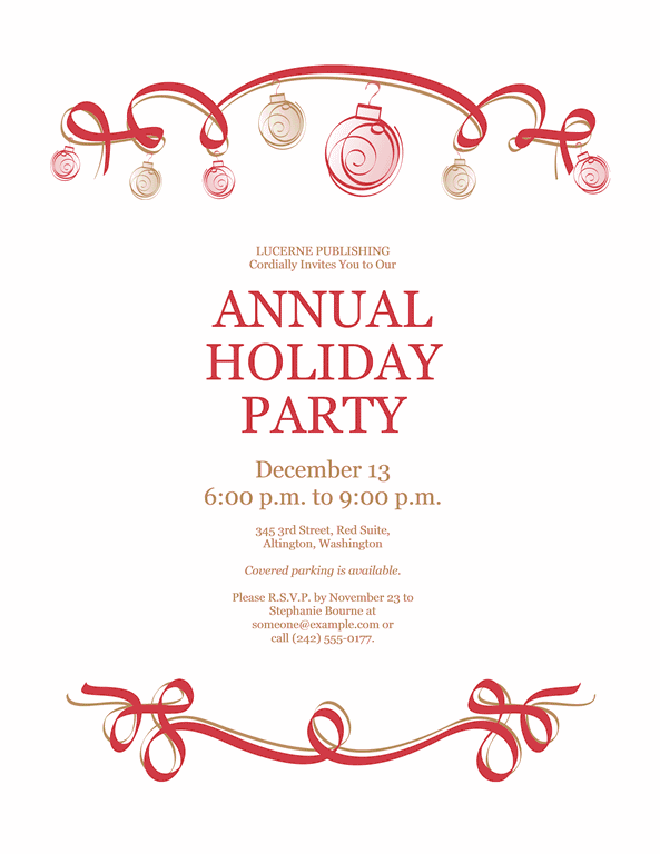 Red-color Holiday Party Invitation With Red And Green Ornaments (formal Design)