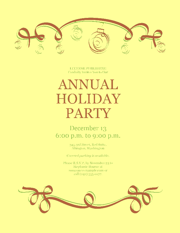 Yellow-color Holiday Party Invitation With Red And Green Ornaments (formal Design)