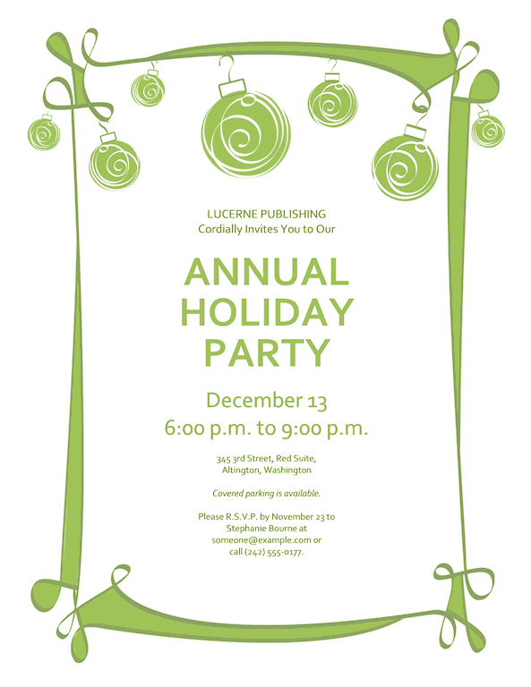 Green-color Holiday Party Invitation With Red And Green Ornaments (informal Design)