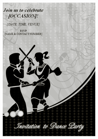 Grey-color Invitation To Dance Party