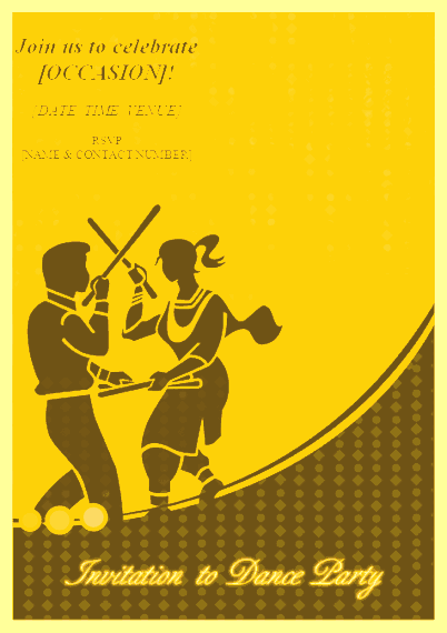 Yellow-color Invitation To Dance Party
