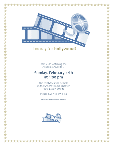 download free printable invitations of movie awards party