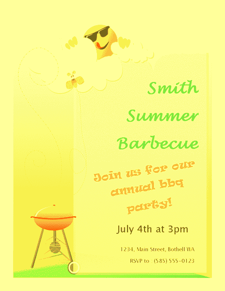 Yellow-color Summer Barbeque Flyer