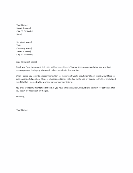Blue-color Thank You Letter For Successful Job Reference From Former Boss