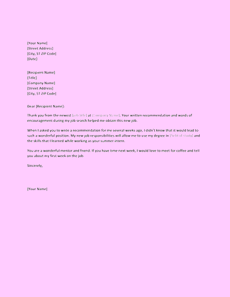 Purple-color Thank You Letter For Successful Job Reference From Former Boss
