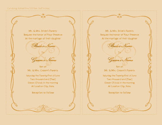 Download Yellow Color Wedding Invitation Heart Scroll Design