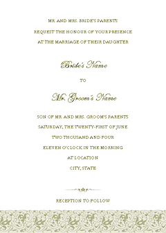 Green-color Wedding Invitation (tapestry Design, Horizontal Border, For Commercial Printing)