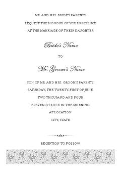 Blue-color Wedding Invitation (tapestry Design, Horizontal Border, For Desktop Printing)