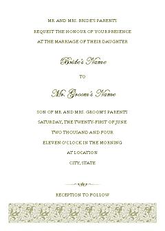 Green-color Wedding Invitation (tapestry Design, Horizontal Border, For Desktop Printing)