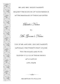 Blue-color Wedding Invitation (tapestry Design, Vertical Border, For Desktop Printing)