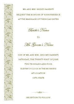 Green-color Wedding Invitation (tapestry Design, Vertical Border, For Desktop Printing)