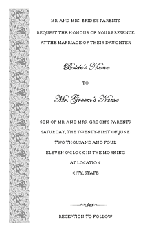 Grey-color Wedding Invitation (tapestry Design, Vertical Border, For Desktop Printing)