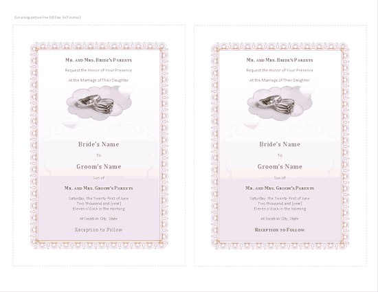 Download Blue-color Wedding Invitation (with Room For Photo)
